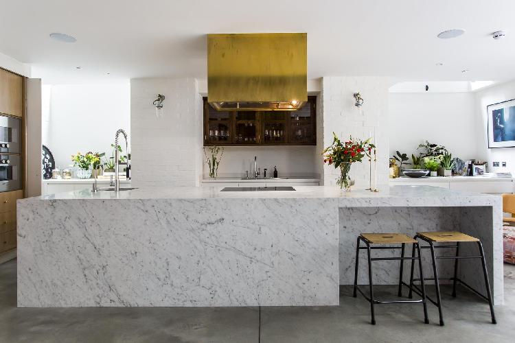 spacious kitchen with state-of-the-art appliances in London Clerkenwell Cooperage luxury apartment a