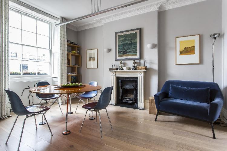 generous open-plan living room in London Albion Street luxury apartment