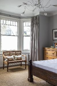lovely bedroom bay window in London Mayfield Avenue II luxury apartment
