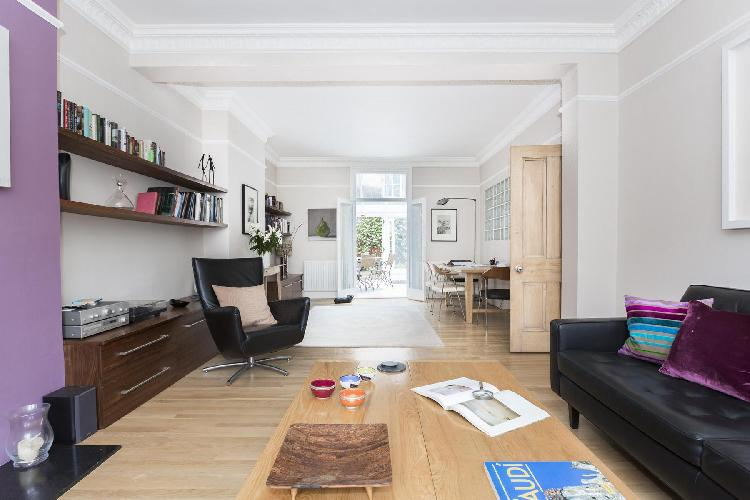 spacious, well-appointed living room of London Eddiscombe Road luxury apartment