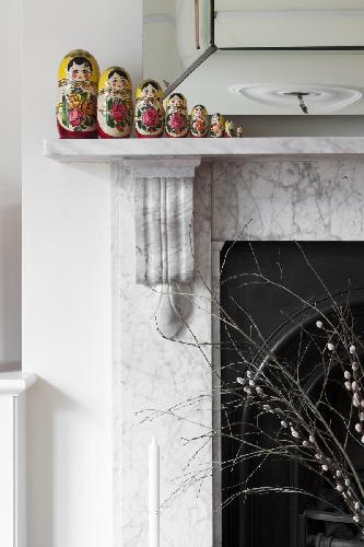 nice fireplace accents in London York Rise luxury apartment