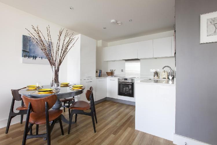 nice dining area and kitchen of London Claremont Court luxury apartment and vacation rental