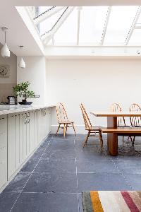 skylights over the dining area of luxury apartment in Abbey Gardens St John's Wood London