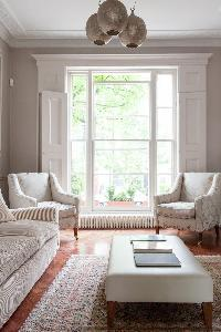 sunny and airy sitting room of luxury apartment in Abbey Gardens St John's Wood London