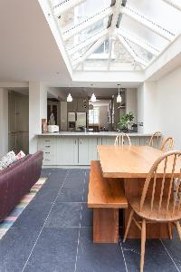 skylights over the dining room of luxury apartment in Abbey Gardens St John's Wood London