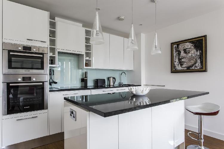 cool modern kitchen of London Tavistock Crescent luxury apartment