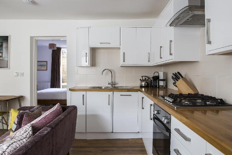cool modern kitchen of London Shepherdess Walk VIII luxury apartment