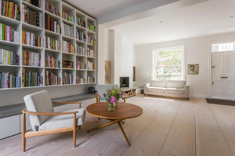 charming library of London Edis Street III luxury apartment