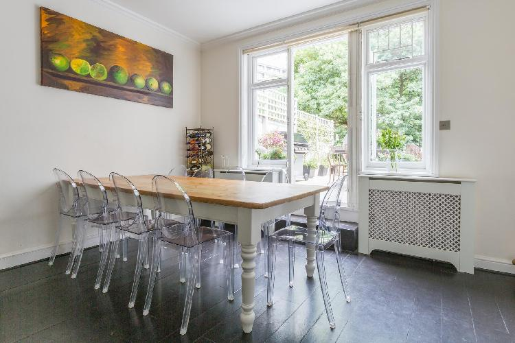 cool ghost chairs in London Haverstock Hill luxury apartment