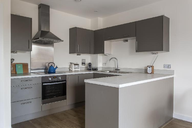 cool modern kitchen of London Grange Road II luxury apartment