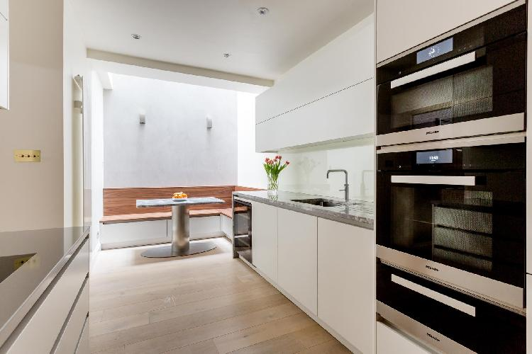cool modern kitchen of London Wetherby Mews luxury apartment