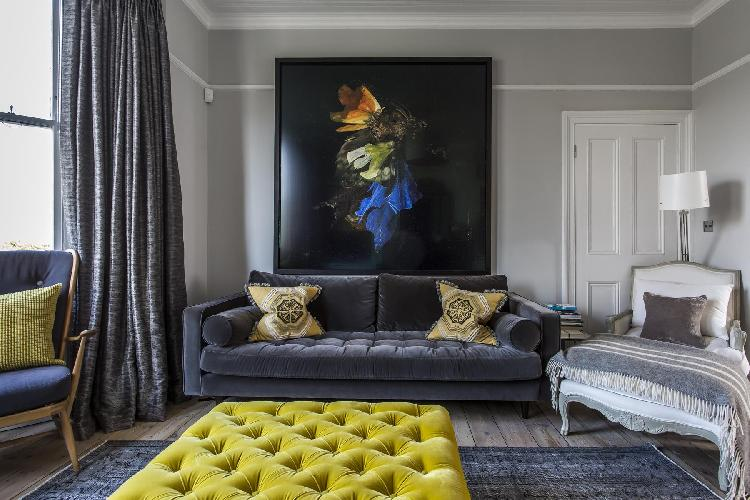impressive wall art and furnishings in f the parlor of London Bramshill Gardens II luxury apartment