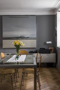 delightful herringbone flooring in the dining area of London De Walden Street luxury apartment