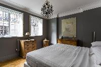exquisite bedroom chandelier in London De Walden Street luxury apartment