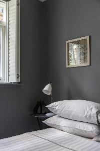 nice bedside lamp and table in London De Walden Street luxury apartment