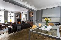 dashing open-plan living room of London De Walden Street luxury apartment