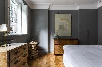 charming bedroom of London De Walden Street luxury apartment