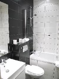en-suite bathroom with a sink, a toilet, and a full bath with a detachable shower head in paris luxu