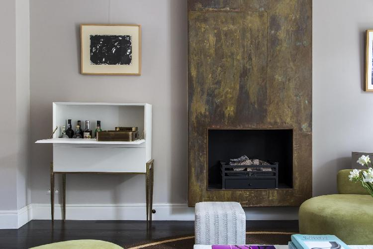 cool fireplace in London Sutherland Place luxury apartment