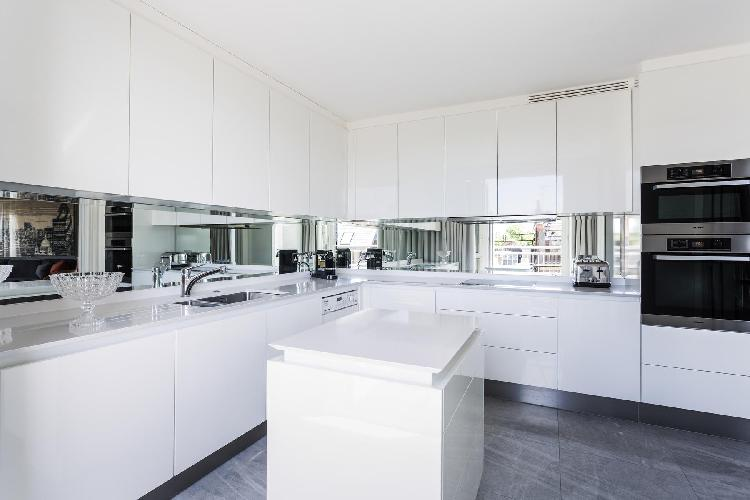 sleek modern kitchen of London Hans Crescent III luxury apartment