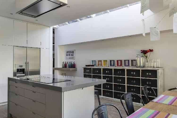 cool kitchen skylight in London Loris Road luxury apartment