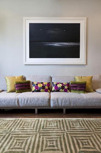 plush sofa in the sitting room of London Chepstow Villas luxury apartment