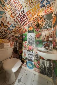 fascinating butterfly-themed toilet in London Alwyne Villas luxury apartment