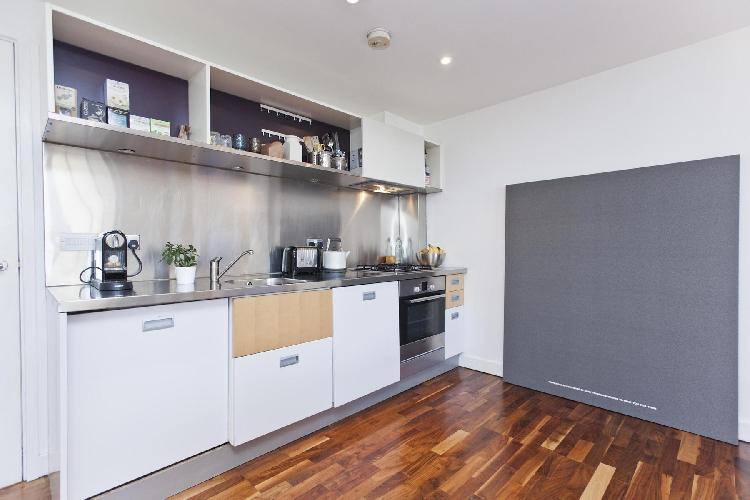neat kitchen of London Hoffman Square luxury apartment