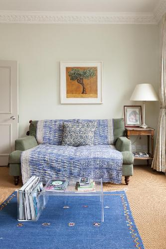 comfy love seat in London Clarendon Road III luxury apartment