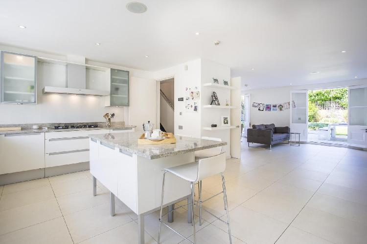 breezy and bright modern kitchen of London Clifton Hill luxury apartment