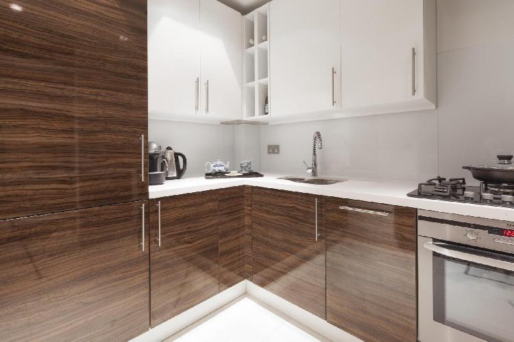 modern kitchen of London Grosvenor Gardens Mews South luxury apartment