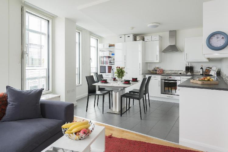 awesome open-plan living room of London Earnshaw Street luxury apartment