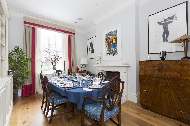 charming dining room of London Warwick Gardens II luxury apartment