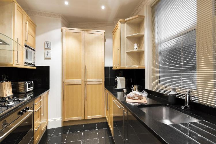 spacious kitchen with modern cabinets and appliances in London Cockspur Street luxury apartment