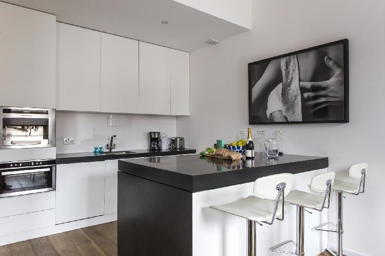 fascinating wall art by the breakfast bar and modern kitchen of London Cromwell Road II luxury apart