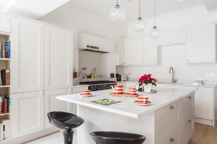 breezy and bright kitchen of London Dunollie Place luxury apartment