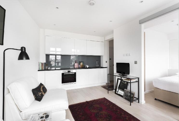 cool living room of London Sloane Avenue III luxury apartment