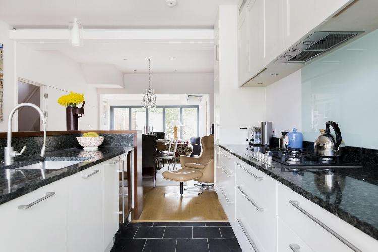 elegant kitchen with modern appliances in Chiswick London Esmond Road II luxury apartment and vacati
