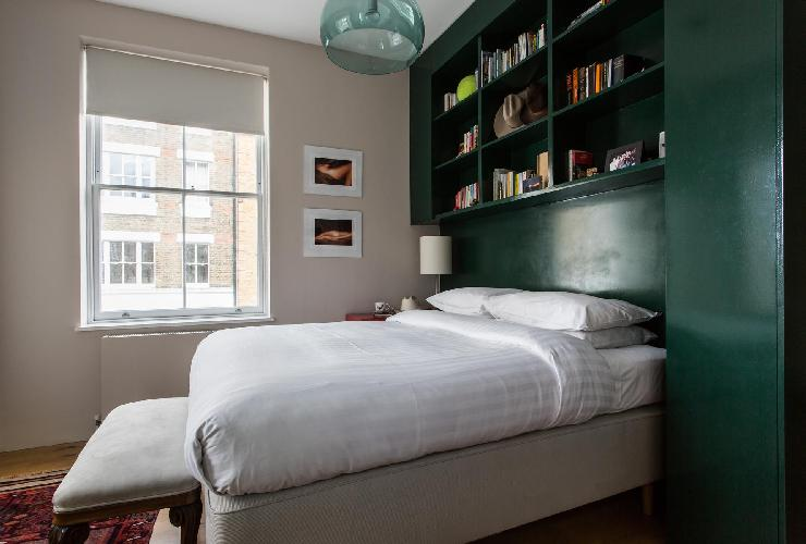lovely bedroom of London Regency Street luxury apartment
