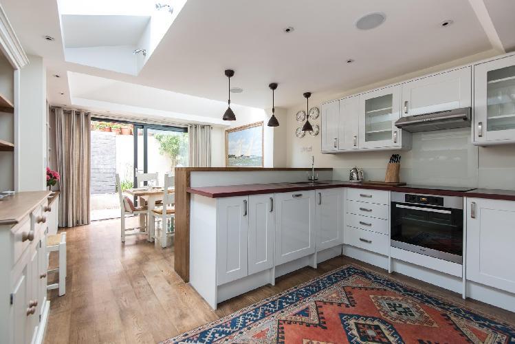awesome skylight-illuminated kitchen of London Donne Place luxury apartment