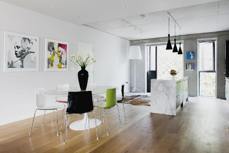 awesome wall art in the dining area of London Compton Street luxury apartment