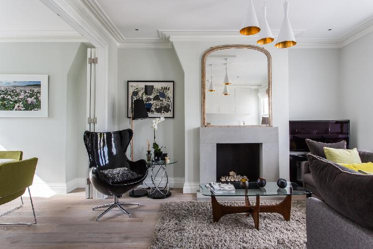 charming fireplace in London Disraeli Road luxury apartment