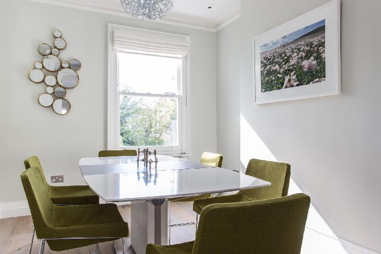 quiet dining room in London Disraeli Road luxury apartment