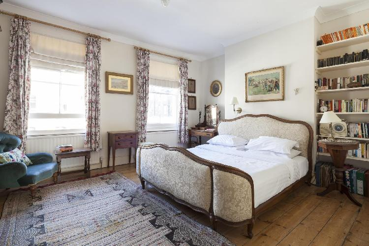 twin windows in master bedroom of London Ascham Street II luxury apartment