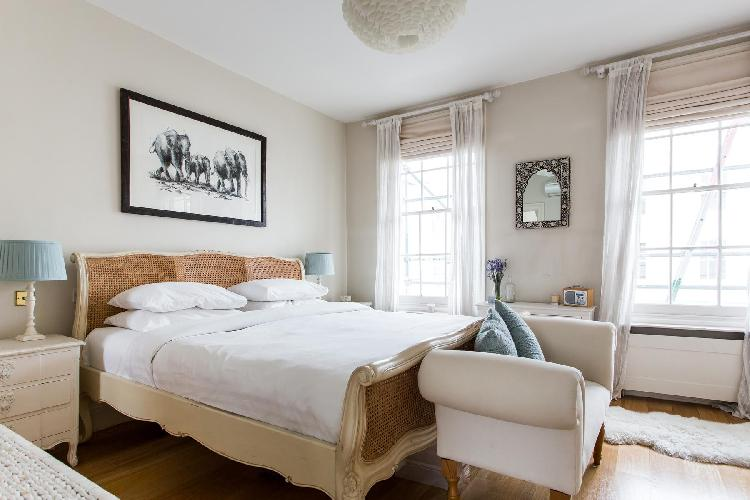 adorable bedroom in London Queensdale Road IV luxury apartment