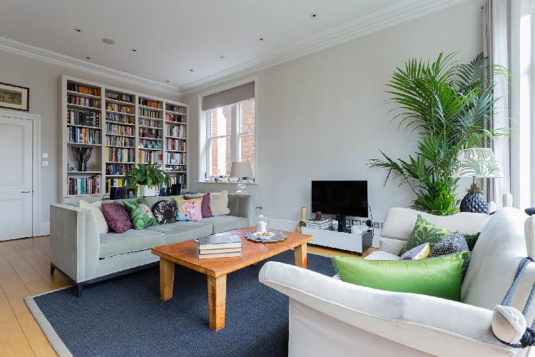 charming and chic living room of London Eton Avenue III luxury apartment