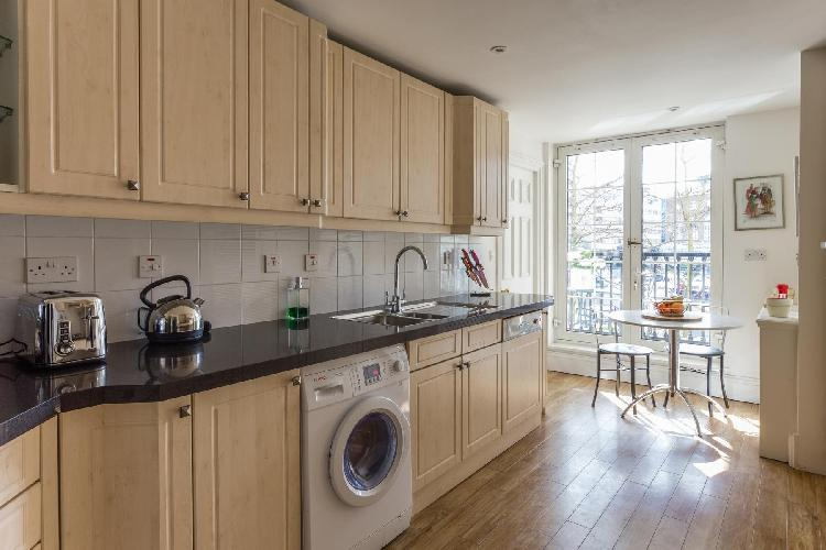 well-appointed kitchen of London Chelsea Harbour luxury apartment and vacation rental