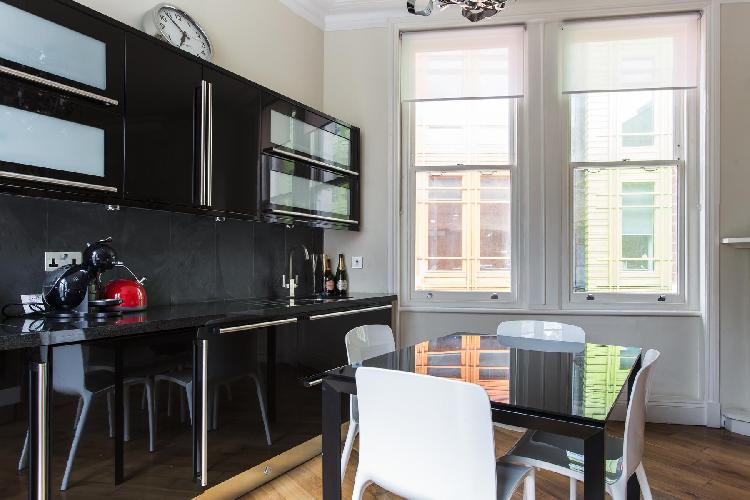 cool kitchen of London Shaftesbury Avenue luxury apartment
