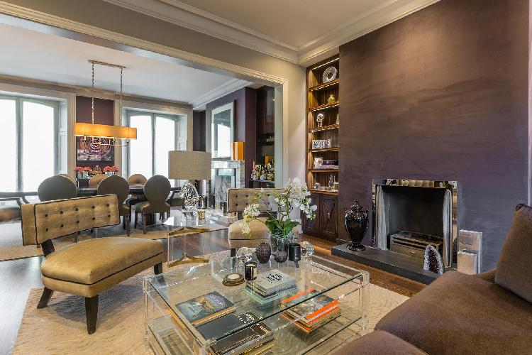 well-designed open-plan living room of London Addison Road III luxury apartment