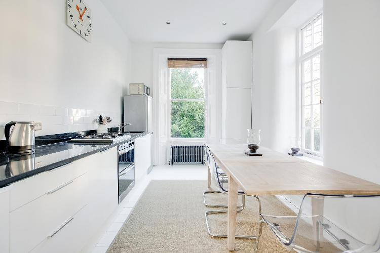 cool modern kitchen of London Lansdowne Road V luxury apartment
